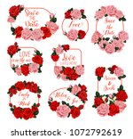flowers frames and wreath icons ... | Shutterstock .eps vector #1072792619