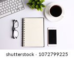 white office desk table with... | Shutterstock . vector #1072799225