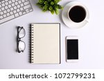 white office desk table with... | Shutterstock . vector #1072799231