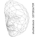 wire frame abstract human face. ...   Shutterstock .eps vector #1072816739