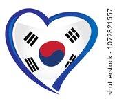 south korea flag  in shape of... | Shutterstock .eps vector #1072821557