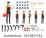 female worker  builder in dark... | Shutterstock .eps vector #1072827191