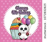 happy birthday card with bear... | Shutterstock .eps vector #1072832825