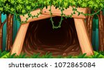 a mine cave from outside view... | Shutterstock .eps vector #1072865084