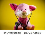 swine flu concept. plush toy... | Shutterstock . vector #1072873589