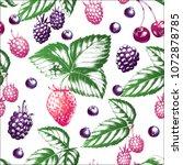 fresh strawberry  blueberry ... | Shutterstock .eps vector #1072878785