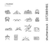 set of tourism thin line icons. ... | Shutterstock .eps vector #1072885481