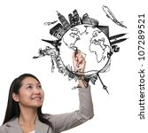 woman drawing the dream travel...   Shutterstock . vector #107289521