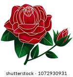 red rose and bud illustration. | Shutterstock . vector #1072930931