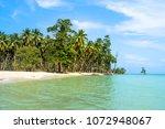 exotic beach background. summer ... | Shutterstock . vector #1072948067