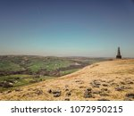 Small photo of Aerial view of Stoodley Pike, Higher Moor, Hebden Bridge, West Yorkshire, UK