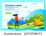vector bright camping banner... | Shutterstock .eps vector #1072958471