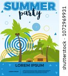 summer party vector poster with ... | Shutterstock .eps vector #1072969931