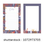 cute vector notes templates.... | Shutterstock .eps vector #1072973705
