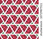 hand drawn watermelon slices... | Shutterstock .eps vector #1072987511