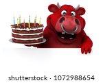 fun bull   3d illustration   Shutterstock . vector #1072988654