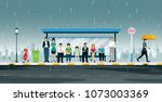 people are waiting at the bus... | Shutterstock .eps vector #1073003369
