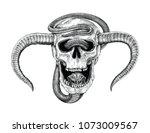 snake with human skull hand... | Shutterstock .eps vector #1073009567