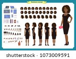 black girl in evening dress... | Shutterstock .eps vector #1073009591