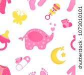 seamless baby shower pattern...   Shutterstock .eps vector #1073010101