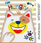 hungry cat on striped... | Shutterstock .eps vector #1073014187