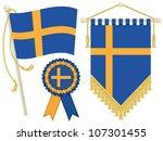 Sweden Flag  Rosette And...