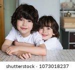 beautiful little brunet boys ...   Shutterstock . vector #1073018237
