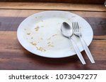empty and dirty dish after eat... | Shutterstock . vector #1073047277