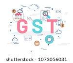good service tax  gst  concept... | Shutterstock .eps vector #1073056031