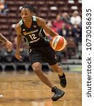 Small photo of UNCASVILLE, CONNECTICUT/USA - May 03, 2017: New York Liberty guard Lindsay Allen (12) during a WNBA basketball game between the Sky and the Liberty at Mohegan Sun Arena