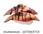 unagi sushi on white background | Shutterstock . vector #1073065715