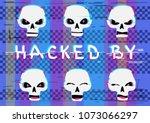 glitch hacker skulls set with... | Shutterstock .eps vector #1073066297