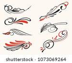old school swirl styled pin... | Shutterstock . vector #1073069264