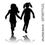 two preschooler girls holding...   Shutterstock .eps vector #1073077121