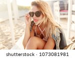 close up lifestyle   blonde... | Shutterstock . vector #1073081981