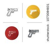 gun  pistol icon. flat design ... | Shutterstock . vector #1073084831