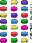 colorful macarons cake. flat... | Shutterstock .eps vector #1073086571
