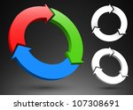 three circular arrows 3d logos. | Shutterstock .eps vector #107308691