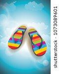 flip flops beach vector | Shutterstock .eps vector #1073089601