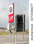 Low Visibility Procedures (LVP) sign on the airdrome