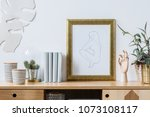 plants  books and decorations... | Shutterstock . vector #1073108117