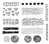 set of hand drawn grungy... | Shutterstock .eps vector #1073113757