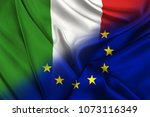 two flags of italy and the... | Shutterstock . vector #1073116349