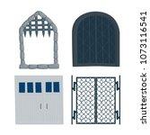 gate old  castle  garage  iron  ... | Shutterstock .eps vector #1073116541