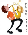 a trumpeter busy blowing his... | Shutterstock .eps vector #1073116577