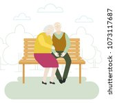 elderly couple sitting on the... | Shutterstock .eps vector #1073117687