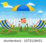 picnic party. sun lounger and... | Shutterstock .eps vector #1073118431