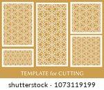 decorative panels set for laser ...   Shutterstock .eps vector #1073119199