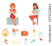 set of colorful items related... | Shutterstock .eps vector #1073122661