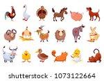 set of farm animals. livestock... | Shutterstock .eps vector #1073122664